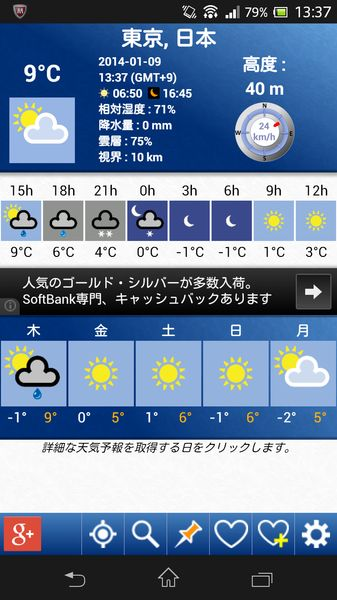 5日間の天気予報
