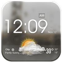 クリアガラススタイル クロック 時計&天気 ウィジェット