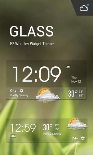 クリアガラススタイルクロック時計&天気ウィジェット
