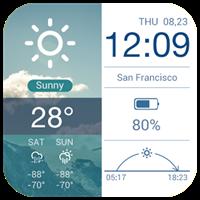 アンバー多機能ウィジェット-天気、時計、カレンダー、日程