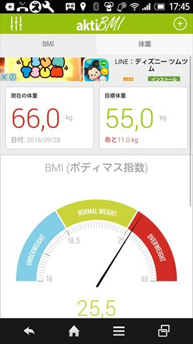 BMI計算と体重日記,体重減少