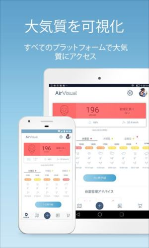 AirVisual大気汚染 空気の品質モニタリングと予報