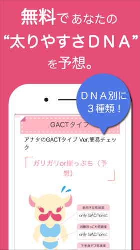 DNA×ダイエット!GACT(ガクト)〜DNAから体質を予想!ダイエットサポートアプリ
