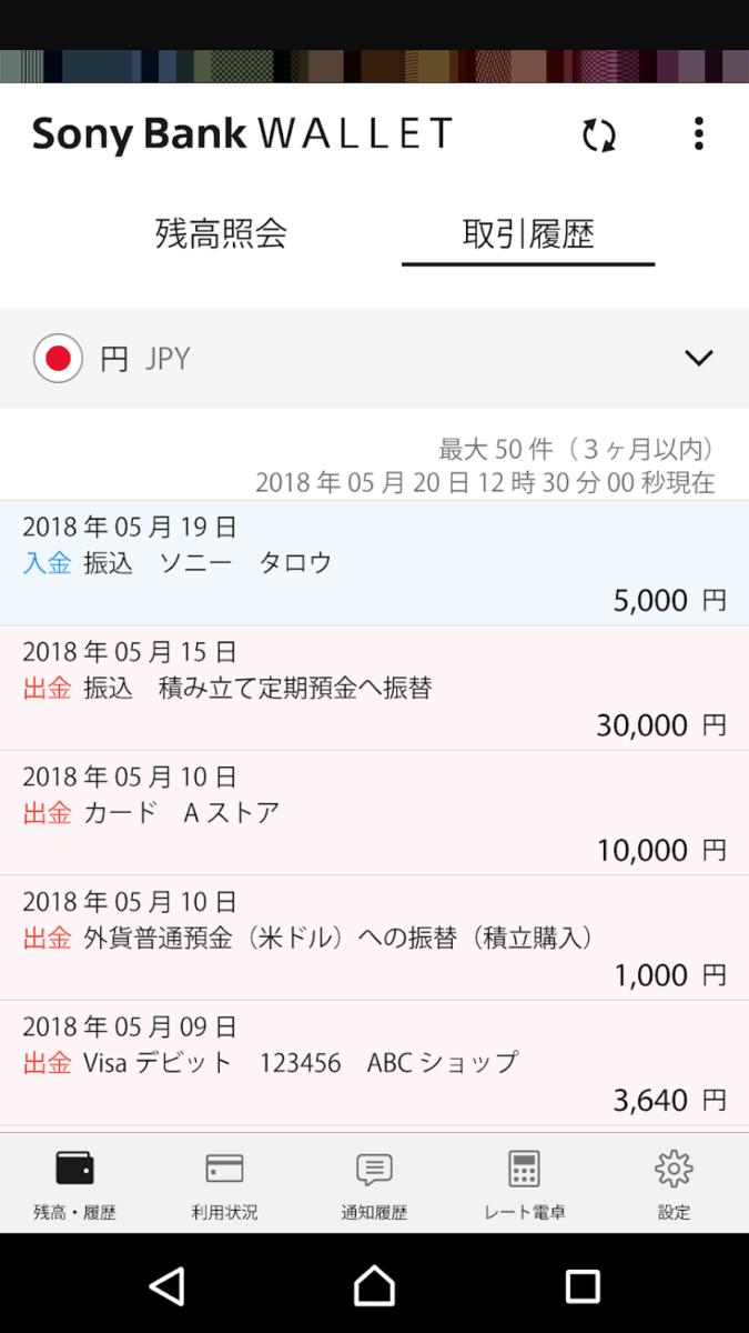 SonyBankWALLETアプリ