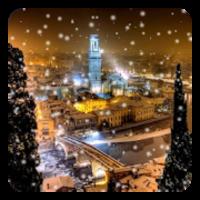 雪の夜の街ライブ壁紙